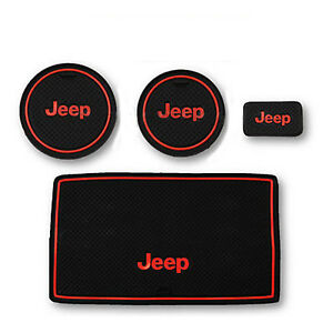 07 17 Jeep Wrangler Black Red Cup Holder Rubber Insert Non Slip Console Mat