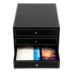 Executive Black Leatherette 3 Drawers File Cabinet Office Supplies Desk Storag