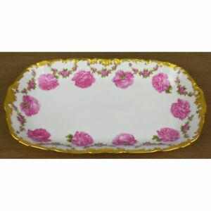 Beautiful Antique Signed French Hand Painted Limoges Floral Flower Plate Charger