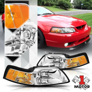 Chrome Housing Headlight Amber Corner Signal Reflector For 99 04 Ford Mustang