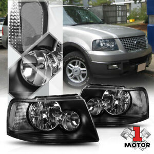 Black Housing Headlight Clear Corner Signal Reflector For 03 06 Ford Expedition