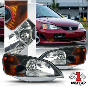 Black Housing Headlight Amber Corner Turn Signal Reflector For 01 03 Honda Civic