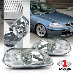 Chrome Housing Headlight Clear Corner Signal Reflector For 96 98 Honda Civic