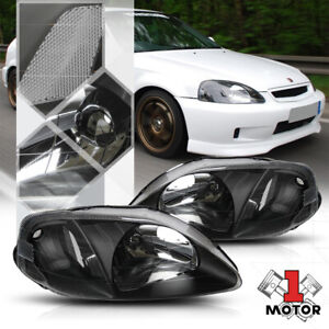 Black Housing Headlight Clear Corner Turn Signal Reflector For 99 00 Honda Civic