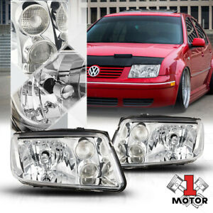 Chrome Housing Crystal Clear Lens Headlight Fog Lamp For 99 05 Vw Jetta Bora Mk4