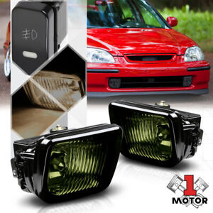 Smoke Tinted Lens Fog Light Bumper Lamps W switch harness For 96 98 Honda Civic