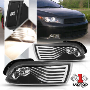 Black Housing Clear Lens Fog Light Bumper Lamps W Switch Harness For 05 10 Tc