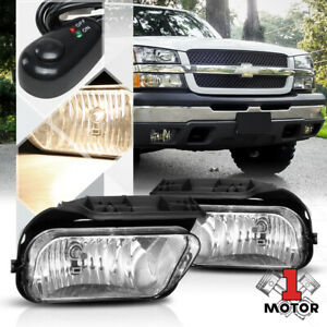 Crystal Clear Fog Light Bumper Lamps W switch harness For 03 06 Chevy Silverado
