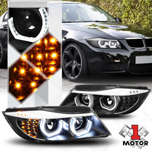 Black Dual 3d Led Halo projector Headlight Led Signal For 06 08 Bmw E90 3 series