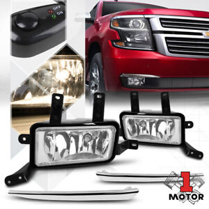 Clear Chrome Trim Fog Light Lamp W Switch Harness For 15 20 Chevy Tahoe Suburban