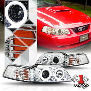 Chrome Dual Halo Projector Headlight Led Drl Amber Signal For 99 04 Ford Mustang
