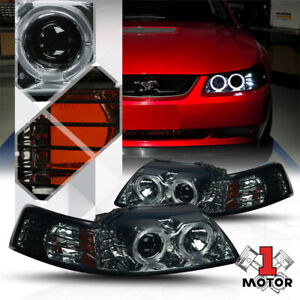 Smoked Dual Halo Projector Headlight Led Drl Amber Signal For 99 04 Ford Mustang