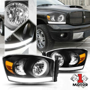 Black Housing Headlight Led Drl Amber Signal For 06 09 Dodge Ram 1500 2500 3500