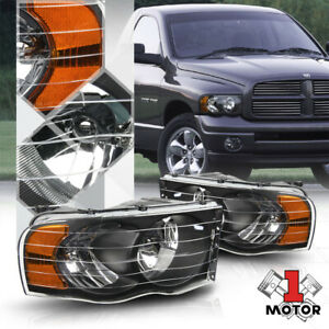 Black Housing Headlight Amber Signal Reflector For 02 05 Dodge Ram 1500 2500