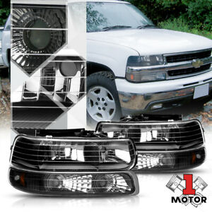 Black Housing Headlight amber Signal Bumper For 99 02 Silverado suburban Tahoe