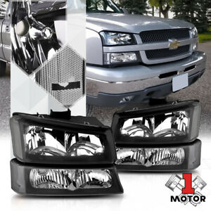Black Housing Headlight Clear Signal bumper For 03 07 Chevy Silverado avalanche