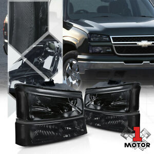 Smoke Tinted Headlight Clear Signal Bumper For 03 07 Chevy Silverado Avalanche