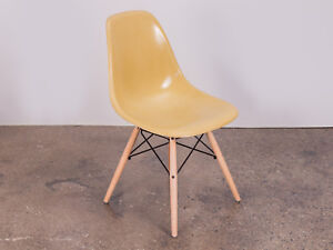 Mustard Straw Mustard Eames Fiberglass Shell Chairs On Maple Dowel Base