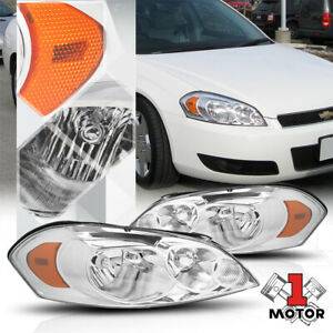 Chrome Housing Headlight Amber Corner Signal For 06 16 Chevy Impala monte Carlo