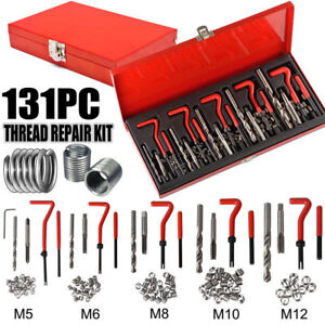 131pcs Thread Repair Tool Helicoil Metric Rethread M5 M12 Stainless Steel Kit