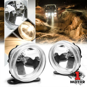 Crystal Clear Glass Lens Universal Fog Light 3 5 round Bumper Lamp W bulbs mount