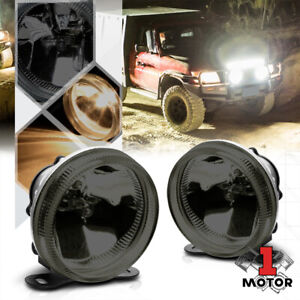 Smoke Tinted Glass Lens Universal Fog Light 3 5 Round Bumper Lamp W bulbs mount