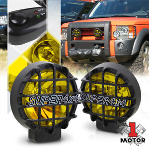 Yellow Lens 6 Round Fog Light W black 4x4 Offroad Protective Stone Guard switch