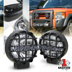 Clear Lens 6 Round Fog Light W black 4x4 Offroad Protective Stone Guard switch