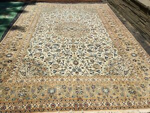 Antique Oriental Rug Kashan 10x15 White Hand Woven Wool