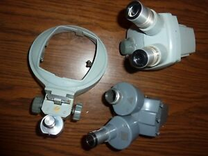 Lot Bausch Lomb Parts Microscope Heads Zoom Range 0 7x 3x Table Holder 10x Wf