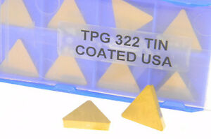 10 New Usa Tpg 322 Tin Coated Carbide Inserts