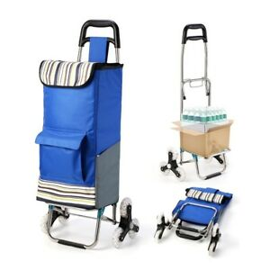 Folding Grocery Shopping Cart Utility Wheeled Bag Stair Climber Trolley Basket