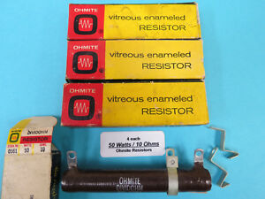 50 Watts 10 Ohms 0561 Ohmite Vitreous Enameled Resistors 4 Each New In Boxes