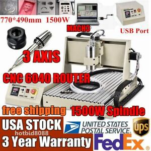 Usb 3 Axis 1500w Cnc 6040 Router Pcb Engraver Engraving Drilling Milling Us Top