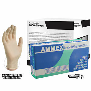 Ammex Ivory Stretch Vinyl Exam Latex Free Disposable Gloves case Of 1000