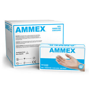 Ammex Clear Medical Vinyl Exam Latex Free Disposable Gloves box Of 100