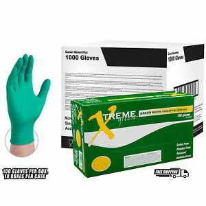 Xtreme Green Nitrile Industrial Latex Free Disposable Gloves case Of 1000