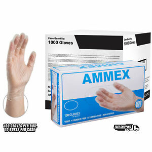 Ammex Clear Vinyl Exam Latex Free Disposable Gloves case Of 1000
