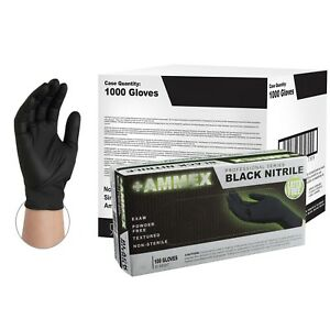 Ammex Black Medical Nitrile Exam Latex Free Disposable Gloves case Of 1000