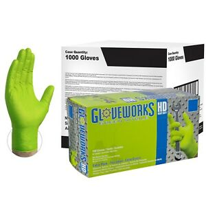 Gloveworks Green Nitrile Industrial Latex Free Disposable Gloves case Of 1000