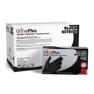 1000 cs Gloveplus Black Nitrile Latex Free 5 Mil Mechanic Disposable Gloves