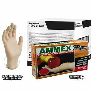 Ammex Stretch Synthetic Ivory Vinyl Latex Free Disposable Gloves case Of 1000