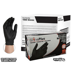 Gloveplus Black Nitrile Industrial Latex Free Disposable Gloves case Of 1000