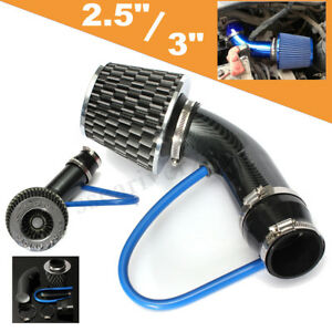 Universal 76mm Car Cold Air Intake Filter Induction Kit Pipe Hose System Carbon