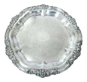Vintage F B Rogers Silver Co 1883 Round Ornate Serving Tray Flower Leaf Scroll