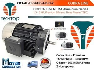 2 Hp Electric Motor Cobra Line 1800 rpm Three Phase 56c C face