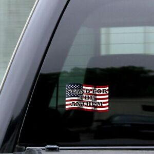Usa Distressed Flag Stand For The Anthem Sticker Decal Rear Window Car 5