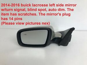 2014 2016 Buick Lacrosse Left Side Mirror With Blind Spot 22901584