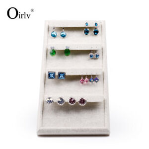 Earring Display Props With Creamy white Linen For Ear Nail Exhibition Folding