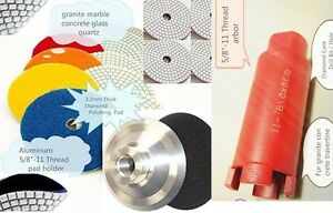 4 Diamond Polishing Pad 1 3 8 Core Bit Aluminum Backer Stone Concrete Sink Cut